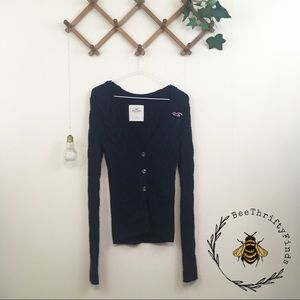 Hollister | Navy Blue Cable Knit Cardigan
